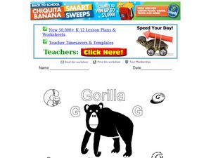 Gorilla- The Letter G Worksheet