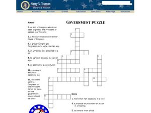 Government Puzzle Worksheet