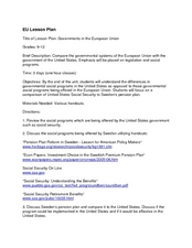 Governments in the European Union Lesson Plan