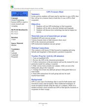 GPS Treasure Hunt Lesson Plan