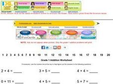 Grade 1 Addition Worksheet Worksheet