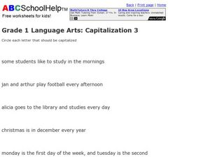 Grade 1 Language Arts: Capitalization 3 Worksheet