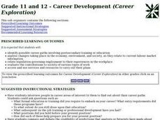 Grade 11 and 12 - Career Development (Career Exploration) Lesson Plan