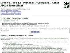Grade 11 and 12 - Personal Development (Child Abuse Prevention) Lesson Plan