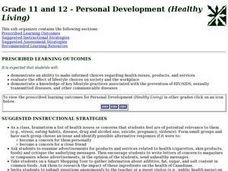 Grade 11 and 12 - Personal Development (Healthy Living) Lesson Plan