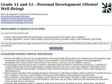 Grade 11 and 12 - Personal Development (Mental Well-Being) Lesson Plan