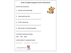 Grade 2 English Language Practice Worksheet Worksheet