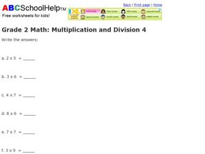Grade 2 Math: Multiplication and Division 4 Worksheet