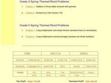 Grade 2 Spring Themed Word Problems: Problem 1 Worksheet