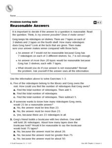 Grade 3 Problem-Solving Skill: Reasonable Answers Worksheet