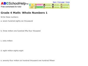 Grade 4 Math: Whole Numbers 1 Worksheet