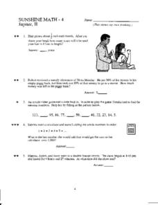 Grade 4 Mixed Math Practice Worksheet