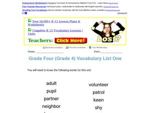 Grade 4 Vocabulary Worksheet