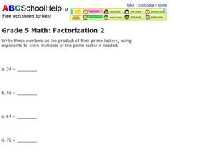 Grade 5 Math: Factorization 2 Worksheet