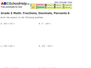 Grade 5 Math: Fractions, Decimals, Percents 6 Worksheet