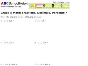 Grade 5 Math: Fractions, Decimals, Percents 7 Worksheet