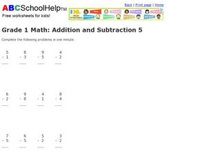 Grade One Subtraction Worksheet
