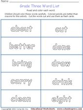 Grade Three Word List Worksheet