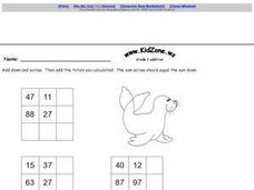 Grade Two Addition Table- Two Digit Numbers Worksheet