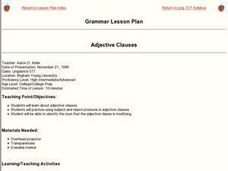 Grammar: Adjective Clauses Lesson Plan