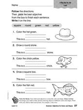 Grammar: Adjectives for Colors and Shapes Worksheet
