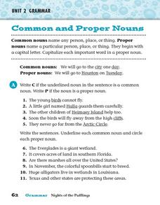 Grammar: Common and Proper Nouns Worksheet