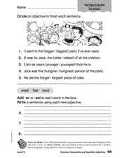 Grammar: Comparative and Superlative Adjectives Worksheet