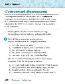 Grammar: Compound Sentences Worksheet