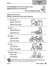 Grammar: Predicates Worksheet