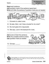 Grammar: Quotation Marks Worksheet