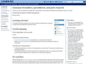 Grammar Scramblers, Spreadsheets, And Parts Of Speech Lesson Plan