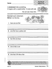 Grammar: Telling Sentences Worksheet
