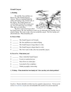 Grand Canyon Worksheet