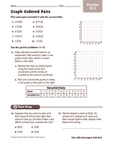 Graph Ordered Pairs: Practice Worksheet
