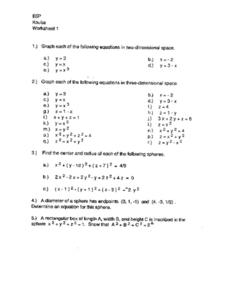 Graphing Equations in Space Worksheet