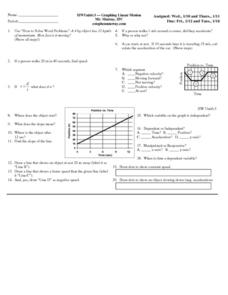 Graphing Linear Motion Worksheet