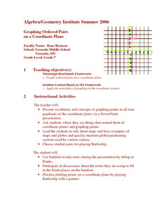 Graphing Ordered Pairs On A Coordinate Plane Lesson Plan