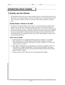 Gravity and the Planets Worksheet