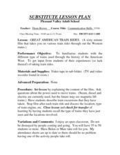 Great American Train Rides. Lesson Plan