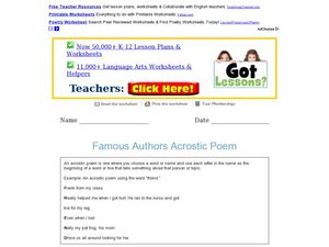 Great Authors Acrostic Poem Worksheet