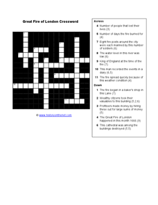Great Fire of London Crossword Worksheet