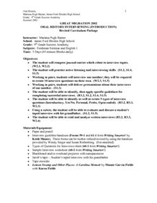 Great Migration 2002 Lesson Plan