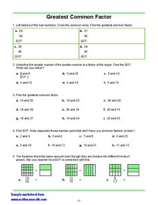 Greatest Common Factor Worksheet