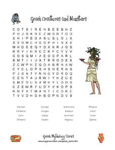 Greek Creatures and Monsters Worksheet
