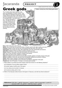 Greek Gods Worksheet