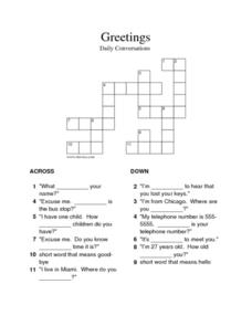 Greetings: Crossword Puzzle 3rd - 6th Grade Worksheet | Lesson Planet