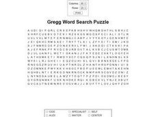 Gregg Word Search Puzzle Worksheet