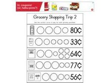 Grocery Shopping Trip 2- Coin Values Worksheet