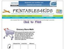 Grocery Store Math Worksheet