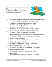 Groundhog Day Challenge Worksheet